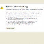 Screenshot: Netzwerk-Zeitüberschreitung Pop-up bei Xing