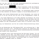 Screenshot der Mail von: wiso-datendiebstahl@wiso.de