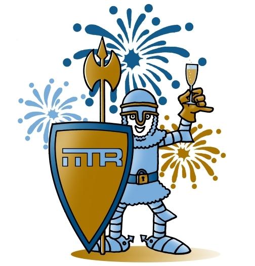 Zeichnung IITR Ritter mit Champagner in der Hand und Feuerwerk im Hintergrund