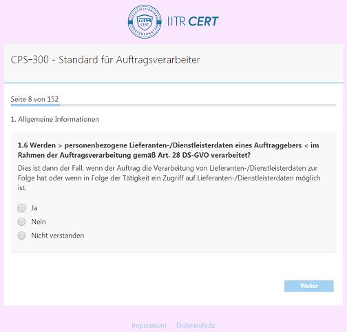 Screenshot: PSE Fragebogen.