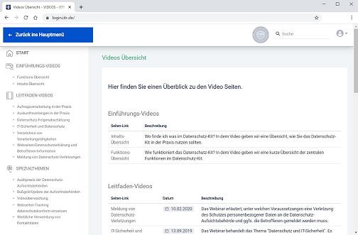 Screenshot: Datenschutz-Kit Videobereich